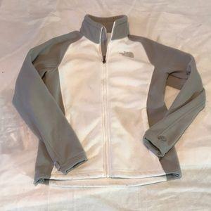 North Face grey and white zipper fleece